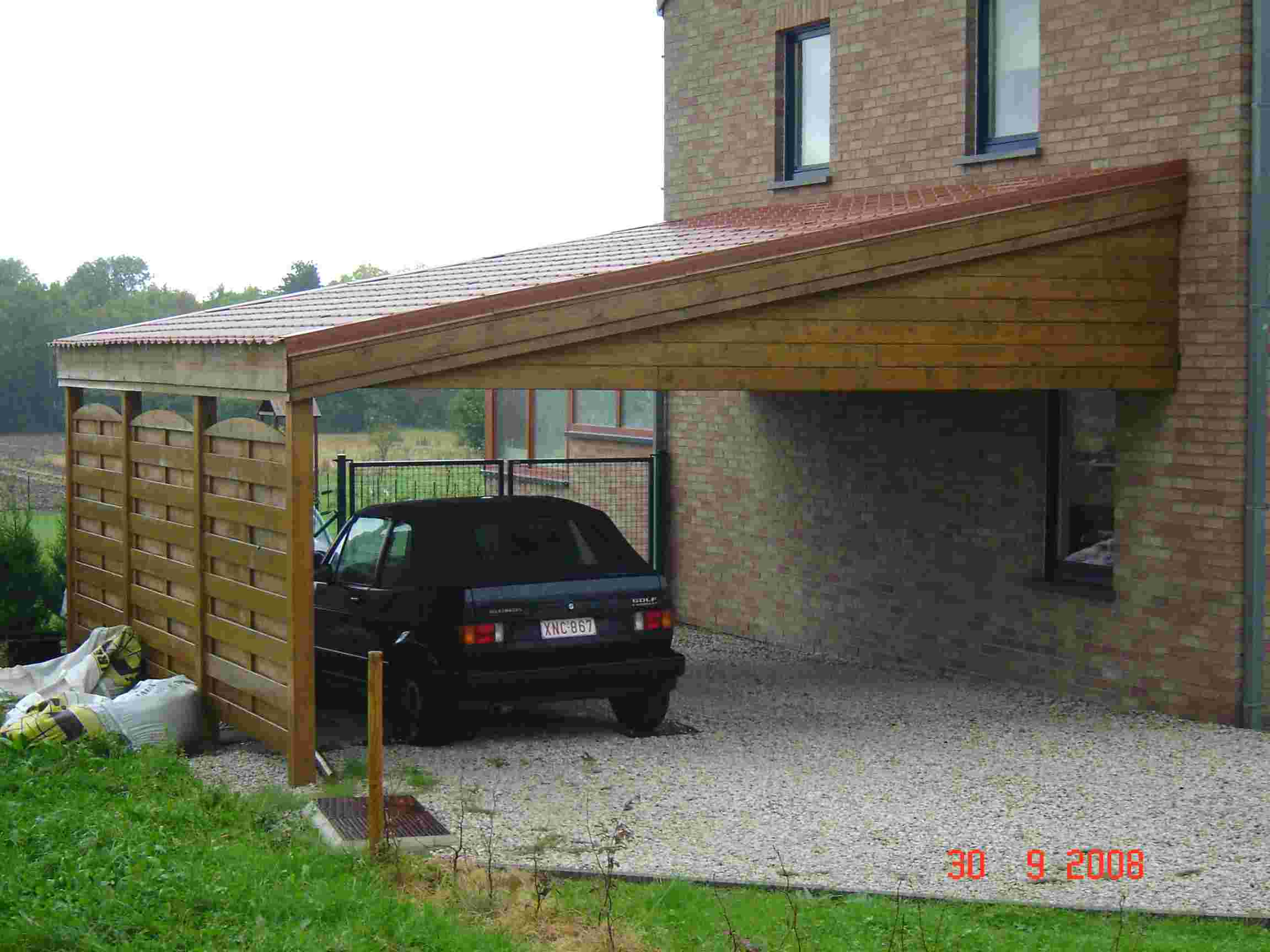 Carport adosse carport voiture et camping car double pente arrasjpg - Carport double pente ...